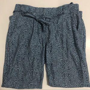 Aritzia Talula blue flower pants with waist tie